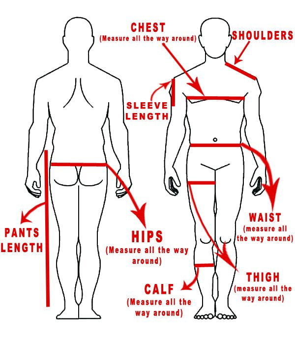 sizing chart for male stripper clothing and costumes